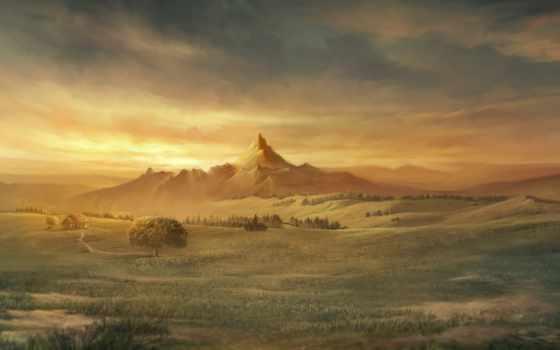 рисунок, горы, поле