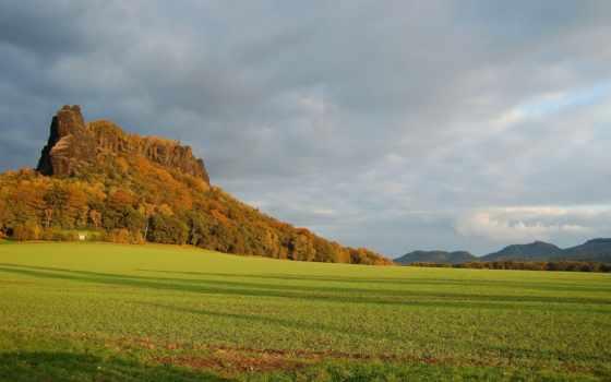 поле, plain, осень, summer, природа, rock, лес, trees, огромный,