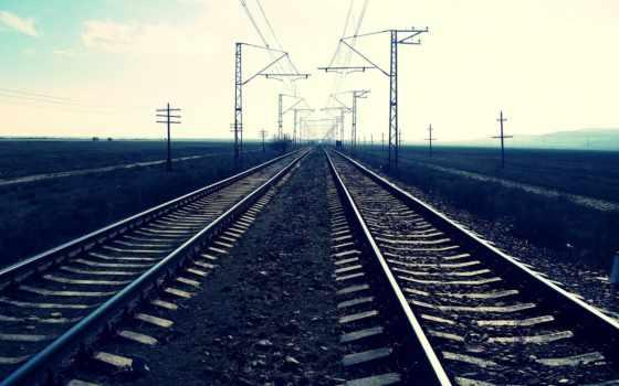 дорога, железная, рельсы, широкоформатные, вдаль, закат,