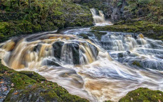 ingleton, waterfalls, north, йоркширский, beezley, falls, англия, великобритания, trail, места,