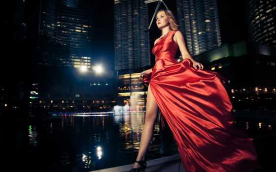 ночь, модель, город, red, платье, fashion, женщина, огни, stock, free,