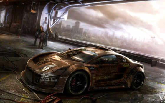 фантастика, машина, art, авто, car, гараж, будущие, апокалипсис, game, motorstorm,