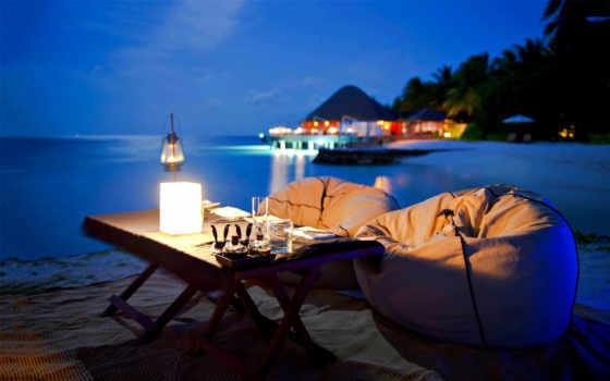 вечер, романтика, пляж, ocean, ужин, romantic, dinner,