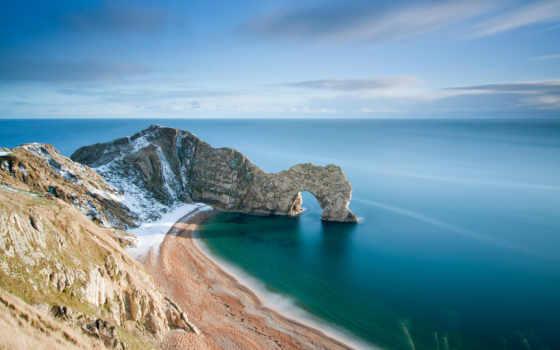 durdle, природы, дверь, пейзажи -, удивительные, мар, море, берег, небо, rock, арка,