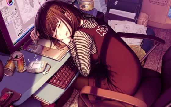 ночи, anime, спокойной
