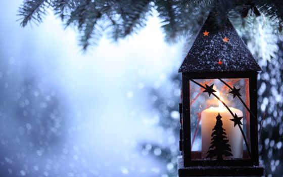 лампа, снег, winter