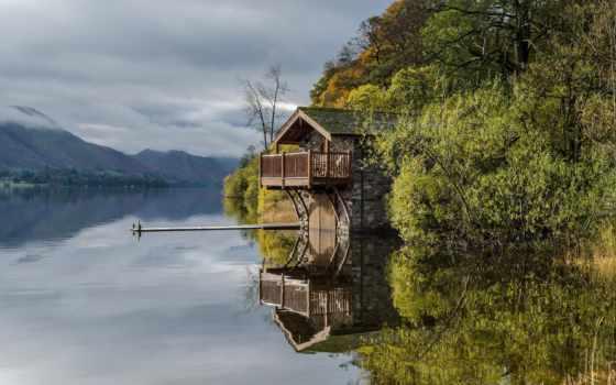 деревья, озеро, landscape