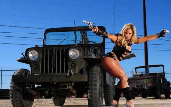оружие, девушка, devushki, оружием, джипа, провода, jeep, blonde, everything, фотошопа,