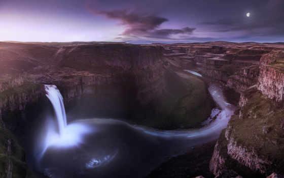 cachoeira, eua, noite, washington, parede, papéis, lua, garganta, vale, baixar,
