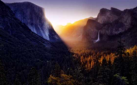 yosemite, national, park, долина, сша, трава, mountains,