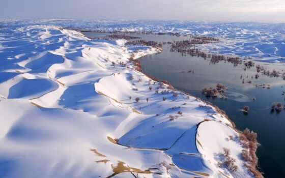 zima, палуба, winter, xinjiang, puzzle, taklimakan, autonomous, góry, пустыня, china, пост