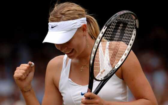 спортсменка, sharapova, теннисистка, maria, бросок, улыбка, удачный, победа, картинка,