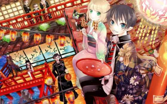 anime, экзорцист, blue, люди, парень, широкоформатные,