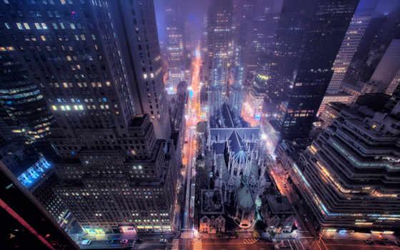 new, york, город, улица, здания, ночь, окна, дорога,
