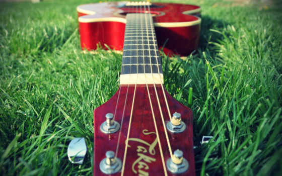 гитара, красная, траве