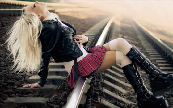 волосы, рельсы, devushki, rails, blonde, девушка, машины,