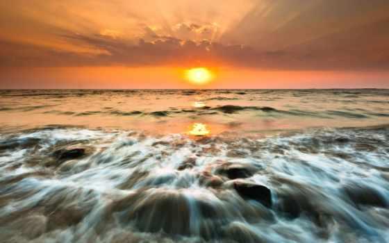 море, закат, surf, качества, waves, высокого, океане, камни, моря,