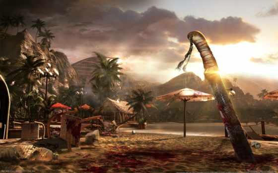 far, cry, нож, dead, кровь, игры, video, остров, пальмы, море,