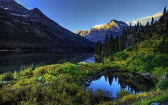 природа, небо, красивые, лес, река, регистрации, горы,