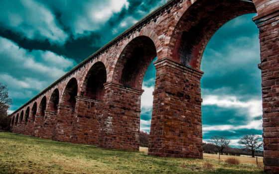 арки, кирпичи, природа, трава, акведук, trees, арка, brick,