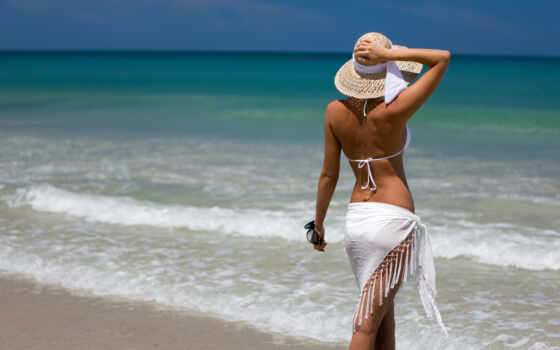пляж, девушка, море