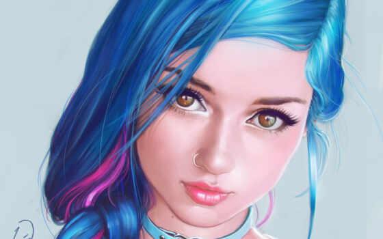 волосы, девушка, арта, blue, рисованный, art