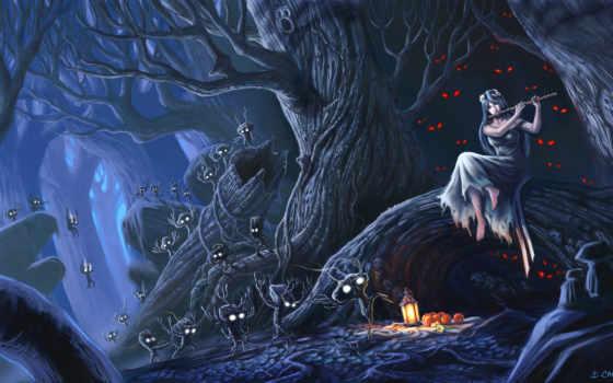 глаза, лес, духи, флейта, девушка, ночь, качестве, картинка, фантастические, монитора, фэнтези, картинку,