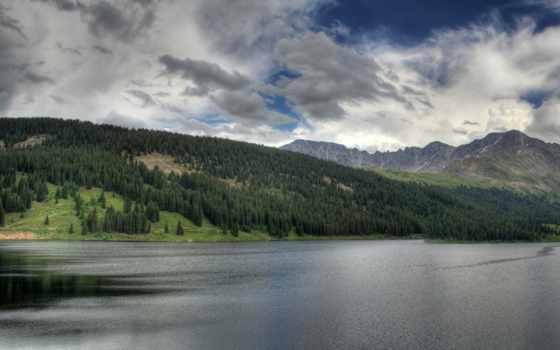 небо, горы, les, priroda, водоем, пейзаж, чистота, облачное, pole, oblaka,