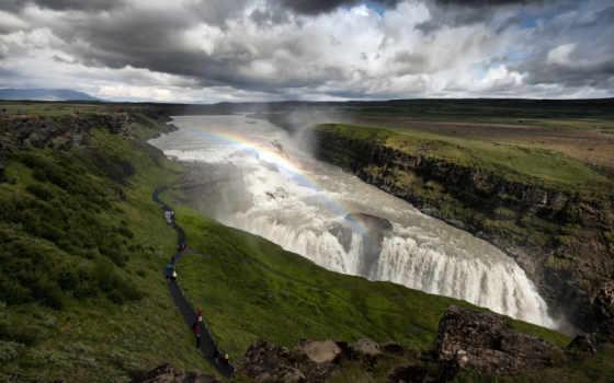 водопад, iceland, радуга, reka, река, исландия, люди, gullfoss, hvita, пустыня, песок,