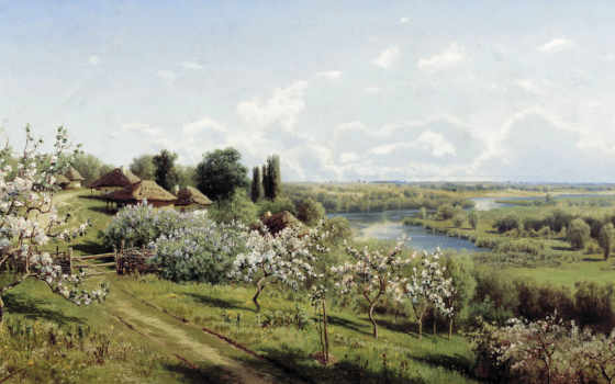 яблони, цвету, малороссии, сергеев, картинка,