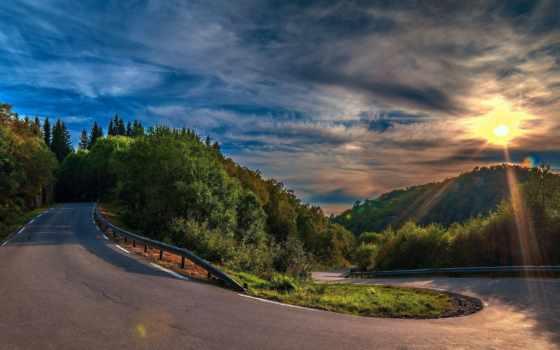 дорога, landscape, лес, поворот, асфальт, тучи, ray, солнца, trees, sun, пейзажи -,