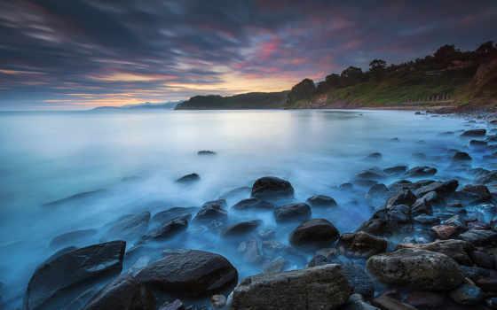 ocean, берег, скалистый, небо, облако, закат, пейзажи -, пляж,