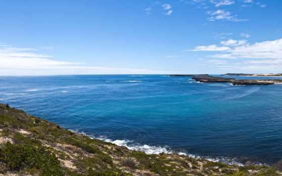 панорама, небо, панорамный, oblaka, взгляд, синее, побережье, море, landscape, blue, широкоформатные,