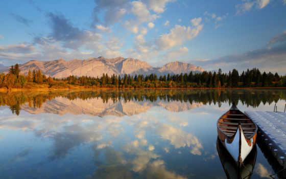 лодка, горы, озеро, pier, лес, отражение, лодки,