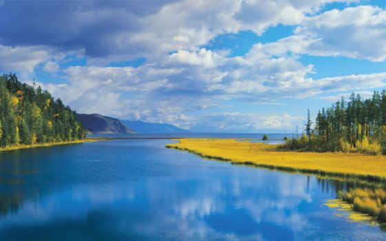 горы, природа, озеро, осень, лес, море, trees, oblaka,