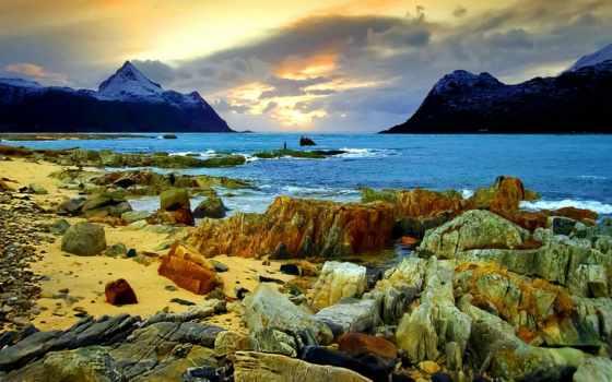 paisajes, costa, del, montañas, сол, naturaleza, rocas, мар, playas, cielo,