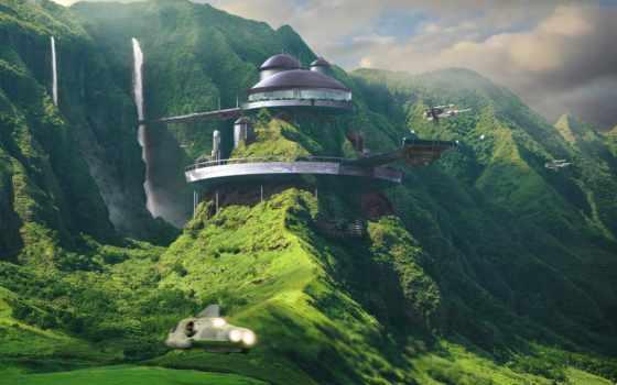 город, fantasy, sci, интернет, будущего, priroda, fantastika,