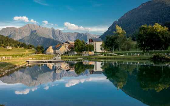 отражение, гора, добавить, house, супер, дерево, landscape, pinterest, озеро, ущелье