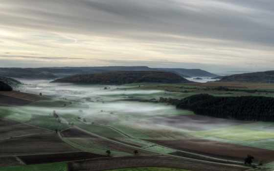 утро, туман