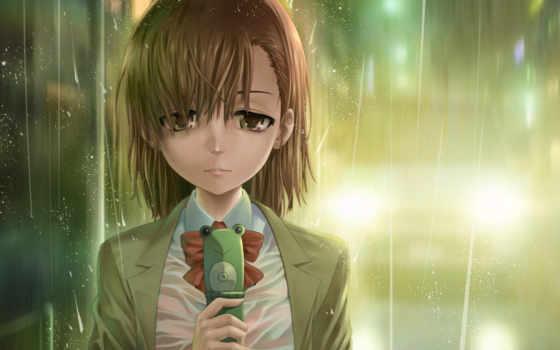 грустная девушка аниме с телефонгм стоит под дождём