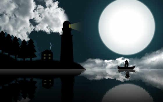 луна, маяк, любовь, windows, tablo, romantic, under, moonlight, night, illustration,