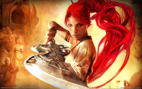девушка, оружие, воин