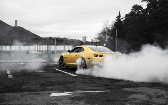 camaro, chevrolet, burnout, дым, yellow, desktop, iphone, car,