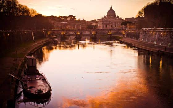 мост, angelo, сант, рим, castle, beat, italy, река,