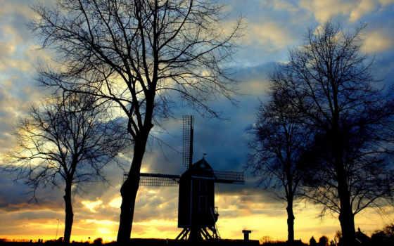 mill, serenity, trees, очертания, вечер, sun, сумерки, небо, старая, пейзажи -,