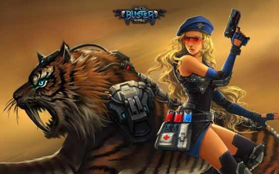 buster, wild, девушка, game, mmorpg, нояб, рисунок, тигр,