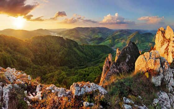 горы, солнце