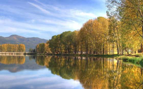 осень, природа, озеро