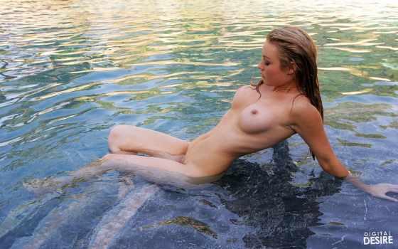 девушка, голая, вода
