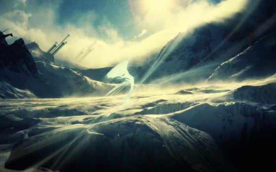 горы, снег, туманные
